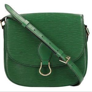 Auth Louis Vuitton Saint Cloud GM Epi Green Bag